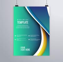 Vacker vågaffärsmallar mall färgstark design vektor