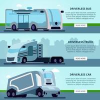 Autonome fahrerlose Fahrzeuge Banner Vektor-Illustration vektor