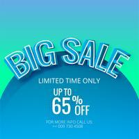 Stor försäljning blå mall banner vektor bakgrunds illustration