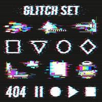 Glitch gesetzt auf schwarzer Hintergrundvektorillustration vektor