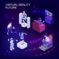 isometrische Hintergrundvektorillustration der virtuellen Realität der Zukunft vektor