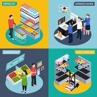zukünftige isometrische Konzept-Vektorillustration des Supermarktes vektor