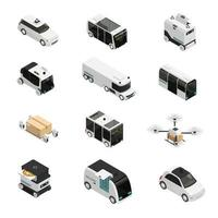 isometrische Symbole der autonomen Fahrzeuge Vektorillustration vektor