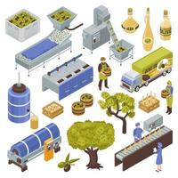 Vektorillustration des Olivenproduktionssatzes vektor