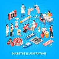 Diabetes isometrische Zusammensetzung Vektor-Illustration vektor