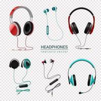 realistische eingestellte Vektorillustration der Kopfhörer vektor