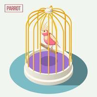 Papagei in Käfig isometrische Zusammensetzung Vektor-Illustration vektor