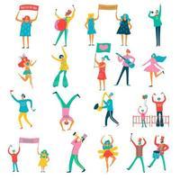 Menschen Parade flache Set Vektor-Illustration vektor