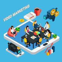 Video-Geschäftstreffen-Zusammensetzungsvektorillustration vektor