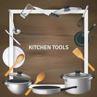 realistische Küchenwerkzeuge rahmen Hintergrundvektorillustration ein vektor