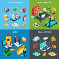 isometrisches Konzeptvektorillustration des digitalen Marketings 2x2 vektor
