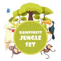 djungel dekorativ ram vektor