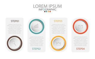 Infografik-Vorlage in 4 Schritten Vorlage für Diagramm-Grafik-Präsentation und Diagramm vektor