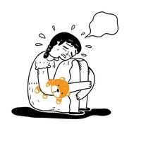 Konzept der Traurigkeit Nostalgie Verlust vektor