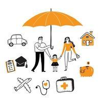 Versicherungskonzept festgelegt vektor
