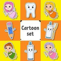 Satz Aufkleber mit niedlichen Zeichentrickfiguren Dental Clipart vektor