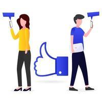 Smartphone-Nutzer, die süchtig nach Likes sind vektor