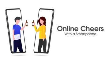 Zwei Online-Anrufnutzer stoßen online mit Bier an vektor