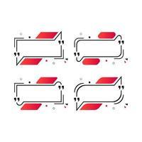 Sammlungssatz des modernen schwarzen roten Anführungsschablonenrahmens vektor