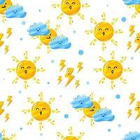 nahtloses Musterdesign des niedlichen Wolkendonners und der Sonne mit flachem handgezeichnetem Stil vektor