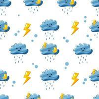 Regenwolke mit nahtlosem Mustermuster des Donners mit flachem handgezeichnetem Stil vektor