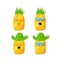 niedliche Sommer-Ananas-Zeichentrickfigur mit flachem handgezeichnetem Stil vektor