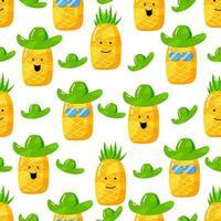 niedliche Sommer-Ananas-Zeichentrickfigur mit flachem handgezeichnetem nahtlosem Muster vektor
