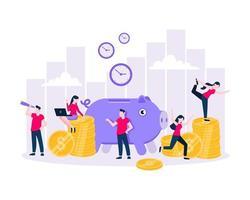 Zeit ist Geld sparen Zeit Geschäftskonzept flache Vektorillustration lokalisiert auf weißem Hintergrund vektor