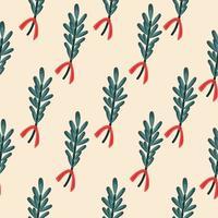 Muster mit weihnachtsgrünem Mistelzweig auf beigem Hintergrund vektor