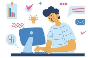 Mann arbeitet an einem Computer, Geschäft, Büro, Programmierer. Geschäftsprojekt oder Startup-Konzept. Multitasking. vektor