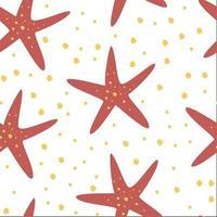 handgezeichnetes nahtloses Wiederholungsmuster mit Seestern. kreative Unterwasser kindliche Textur. vektor