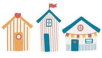 Reihe von Strandhäusern. Sommerkarte mit Strandhütten. Strandbungalow Hotel mit unterschiedlichem Äußeren. vektor