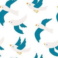 nahtloses Muster mit Möwen. niedliches Möwenvogel nahtloses Muster. fliegende Vögel Muster. vektor
