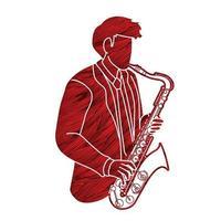 Saxophonist Musiker Orchester vektor