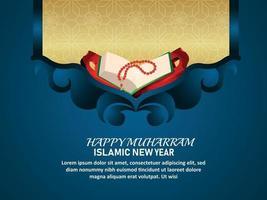 islamisches Festival der glücklichen Muharram-Einladungsgrußkarte mit dem Koran des heiligen Buches vektor