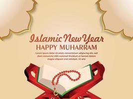 glückliche Muharram-Einladungsgrußkarte mit heiligem Buch des Korans vektor