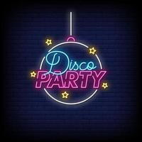 Disco Party Leuchtreklamen Stil Text Vektor