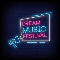 Traummusikfestival-Neonzeichen-Stiltextvektor vektor
