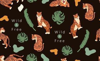 schwarzer Hintergrund der Safari mit Tiger vektor