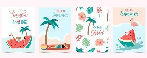 samling av sommarbakgrund med människor, vattenmelon, strand, kokosnöt. vektor