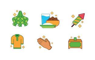 Sammlung von Eid Ketupat Icon vektor