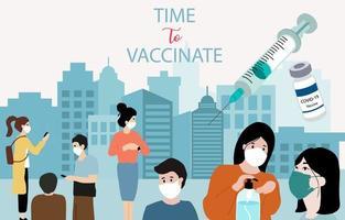Menschen mit chirurgischer Gesichtsmaske, Impfstoffhintergrund zur Verhinderung der Ausbreitung von Bakterien, Coronavirus vektor
