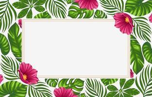 tropische Blätter und Blumen Hintergrundgrenzen vektor
