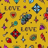 Valentinstag in nahtlosem Muster im Stil der alten Schule. Vektorillustration. Design für Valentinstag, Stelzen, Geschenkpapier, Verpackung, Textilien vektor