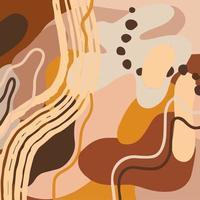 abstraktes modernes Muster mit organischen Formen, Flecken, Linien, Punkten in sanften Pastellbrauntönen. vektor