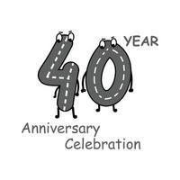 40 Jahre Jubiläum Nummer Zeichen Vektor Vorlage Design Illustration