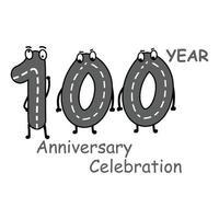 100 Jahre Jubiläum Nummer Zeichen Vektor Vorlage Design Illustration