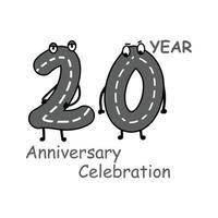 20 Jahre Jubiläum Nummer Zeichen Vektor Vorlage Design Illustration
