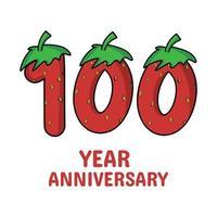 100 Jahre Jubiläumsfeier Erdbeer Charakter Vektor Vorlage Design Illustration