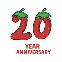 20 Jahre Jubiläumsfeier Erdbeer Charakter Vektor Vorlage Design Illustration